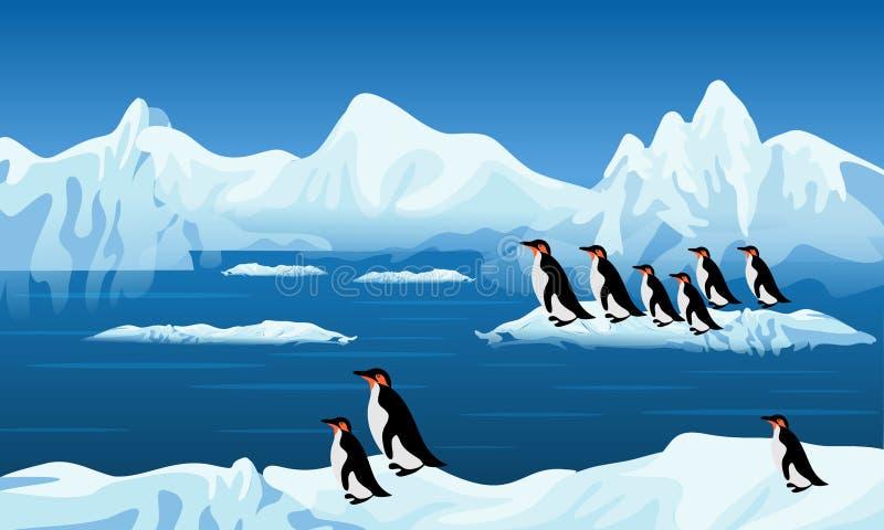 Abstrakcjonistyczni wektorowi pingwiny na zamarzniętym śniegu, tło, tapeta ilustracji