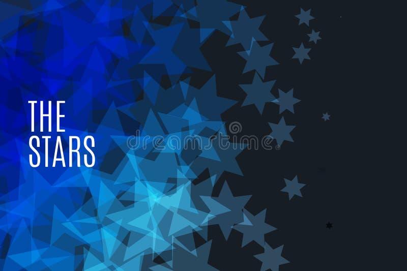 Abstrakcjonistyczni wektorowi projektów elementy z gwiazdami i czarnym tłem ilustracja wektor