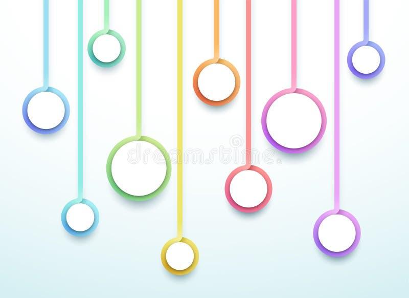 Abstrakcjonistyczni wektoru 3d kroka Kolorowi 10 okregów Infographic ilustracja wektor