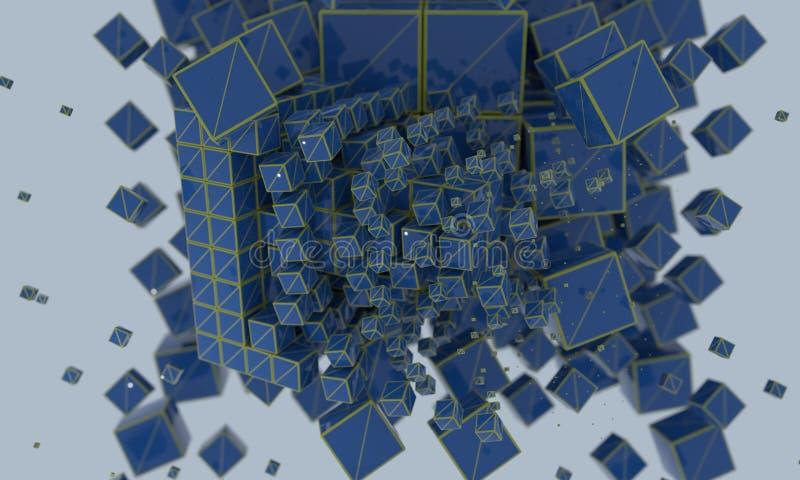 Abstrakcjonistyczni wireframe sześciany, 3d r ilustracji