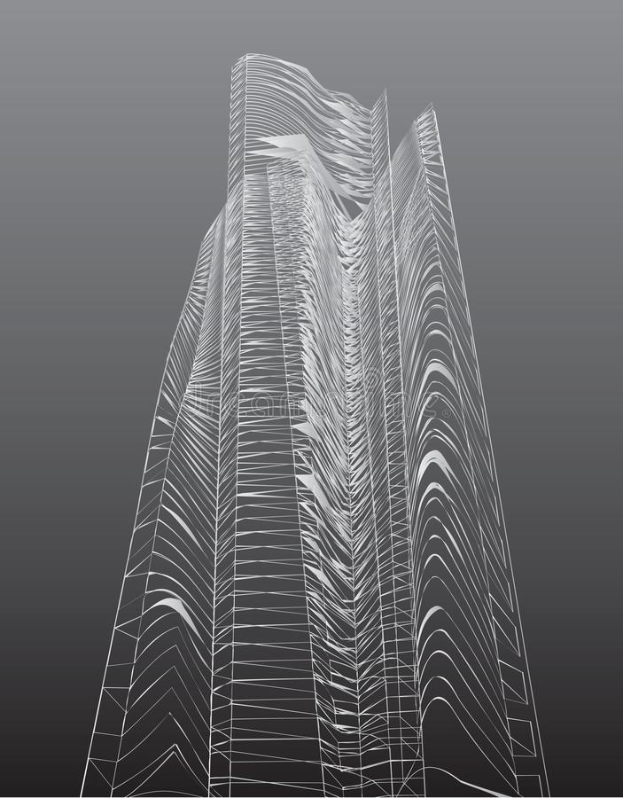 Abstrakcjonistyczni wysocy budynki ilustracja wektor