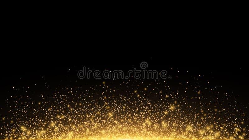 Abstrakcjonistyczni złoci światła z backlight Latający magiczny złoty pył i świecenie o boże narodzenie świąteczne złoty deszcz w royalty ilustracja
