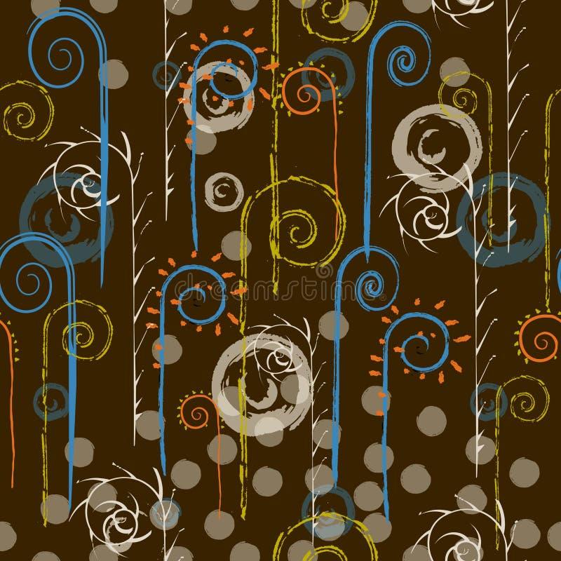 abstrakcjonistyczni zioła bezszwowy wzoru Ręka rysujący styl ilustracji