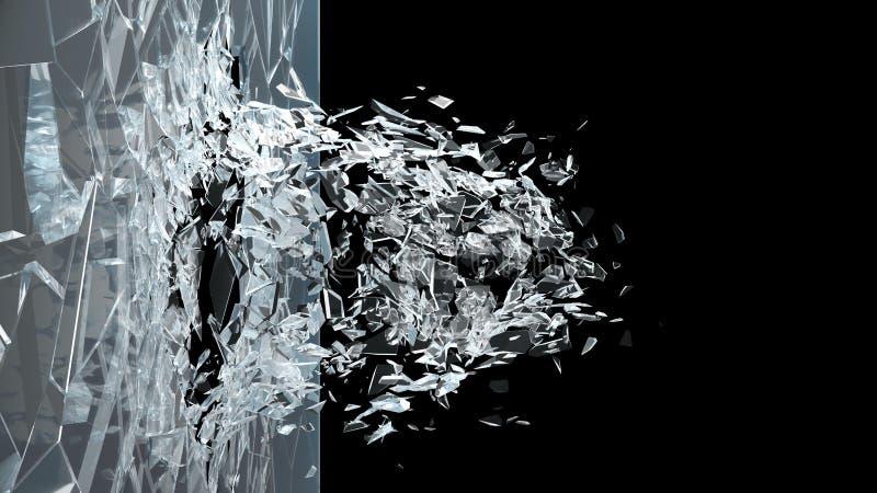 Abstrakcjonistyczny łamający szkło w kawałki Ściana szkło rozbija w małych kawałki Miejsce dla tw?j sztandaru, reklama ilustracji
