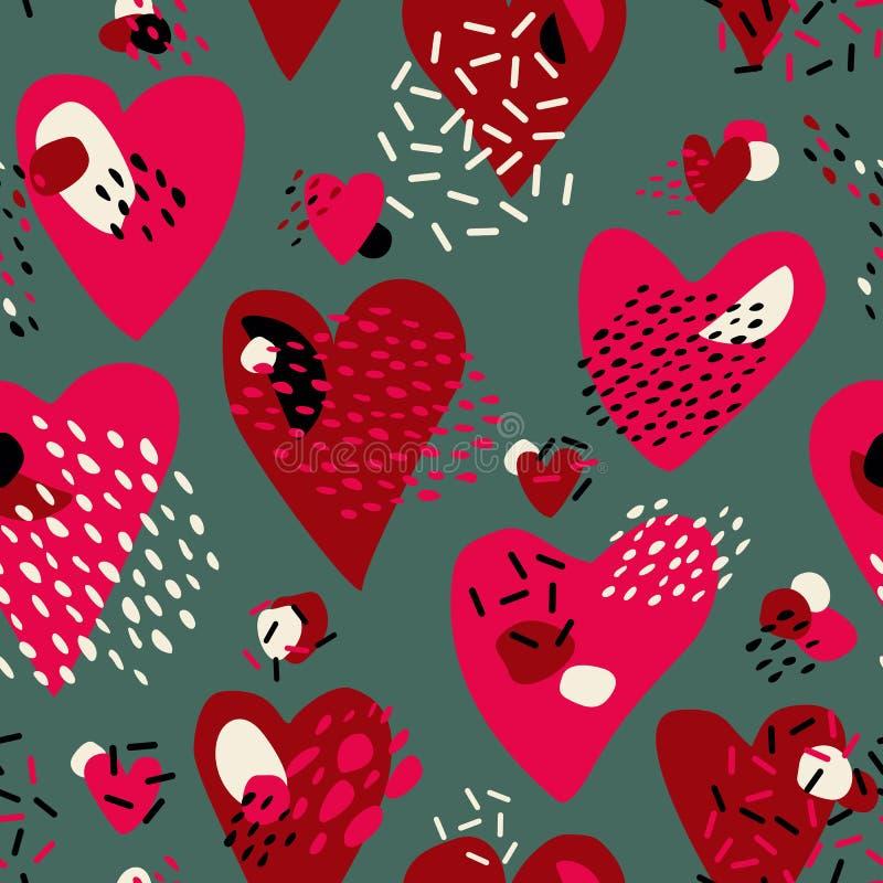 Abstrakcjonistyczny Śliczny bezszwowy wzór z chaotycznymi malującymi sercami Walentynki ` s dnia wektoru tekstura ilustracja wektor