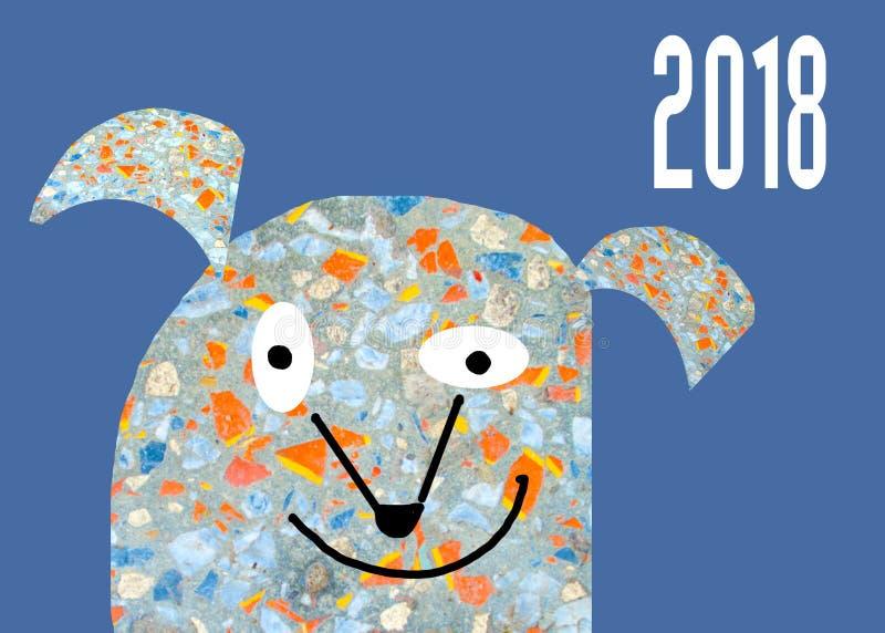 Abstrakcjonistyczny śliczny kreskówka pies Symbol rok 2018 ilustracja wektor