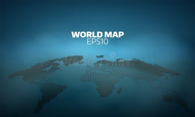 Abstrakcjonistyczny światowej mapy kropki siatki tło Wektorowa hemisfery demonstracja geografia atlant ilustracji