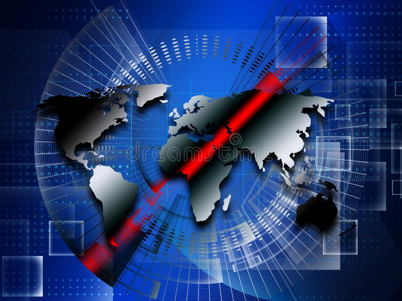 Abstrakcjonistyczny światowej mapy technologii styl ilustracji