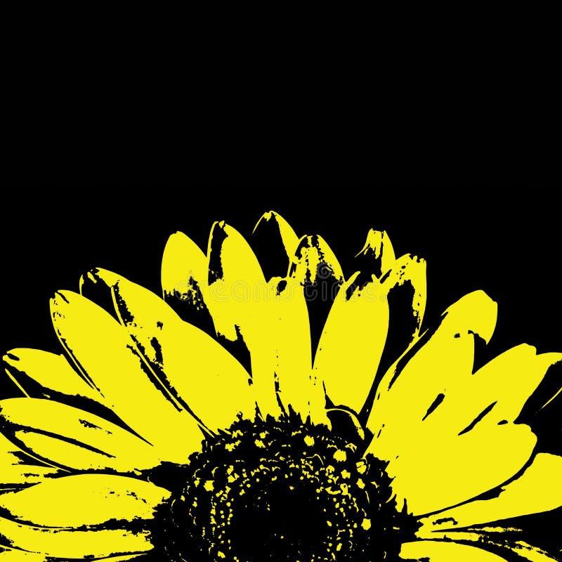 Abstrakcjonistyczny żółty gerbera kwiat na czerni obrazy royalty free