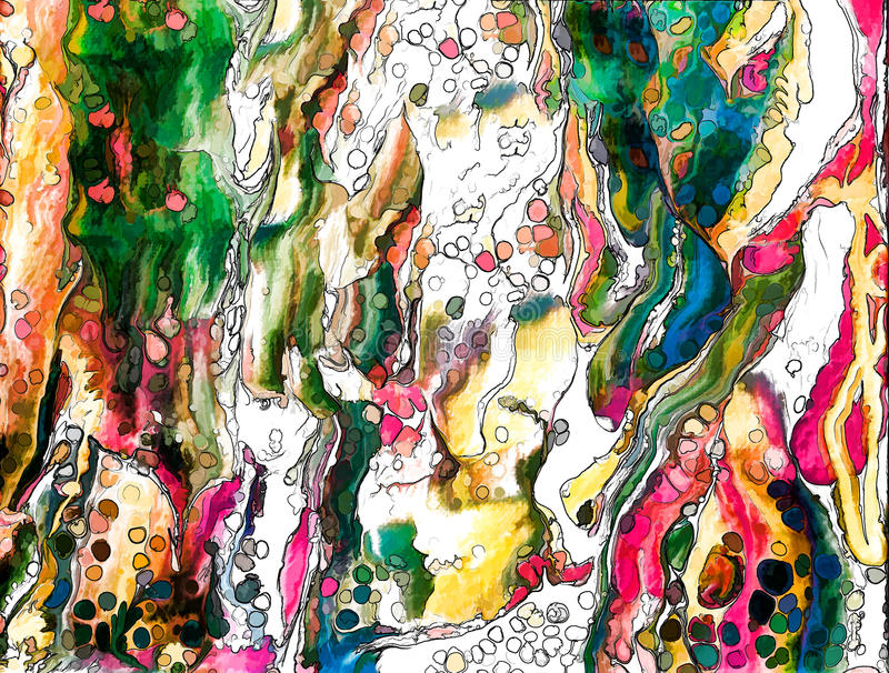 Abstrakcjonistyczny acrilic obraz z kolor komórkami royalty ilustracja
