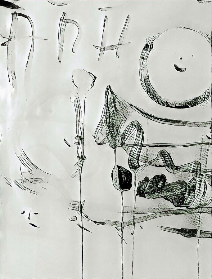 Abstrakcjonistyczny acrilic obraz z pluśnięciem, przepływu puszkiem, kapinosami, uśmiechem i literowaniem, royalty ilustracja