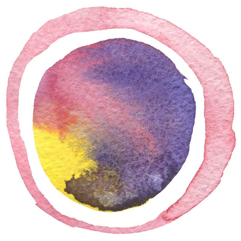 Abstrakcjonistyczny akrylowy i akwarela okrąg malujący tło ilustracji