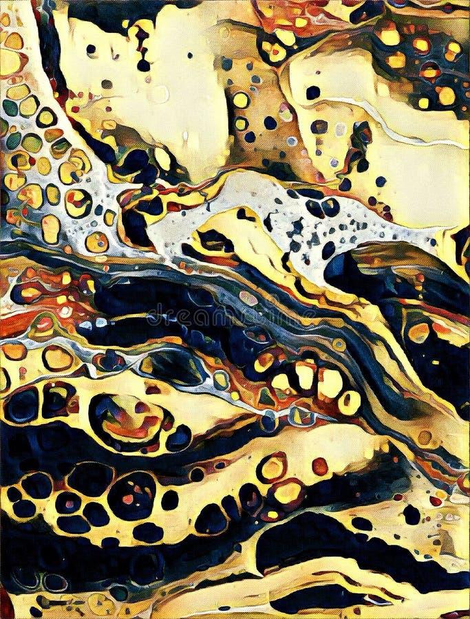 Abstrakcjonistyczny akrylowy płaski obraz z komórką ilustracji