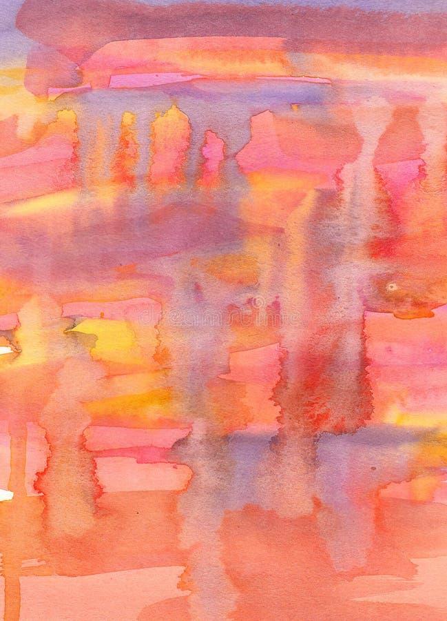 Abstrakcjonistyczny akwarela obraz. Rewolucjonistki, koloru żółtego, pomarańcze i fiołka col, royalty ilustracja