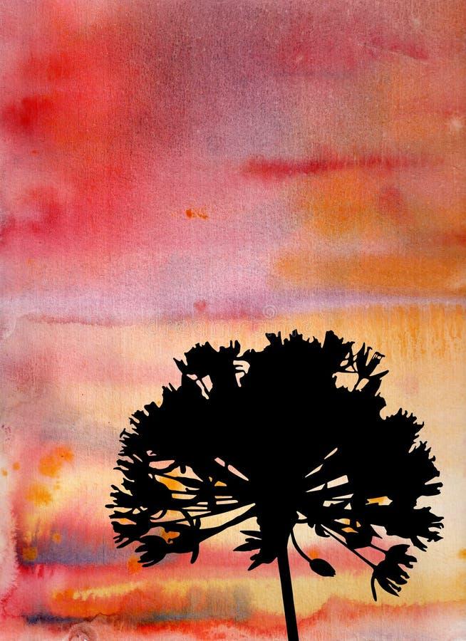 Abstrakcjonistyczny akwarela obraz z kwiecistymi elementami ilustracji