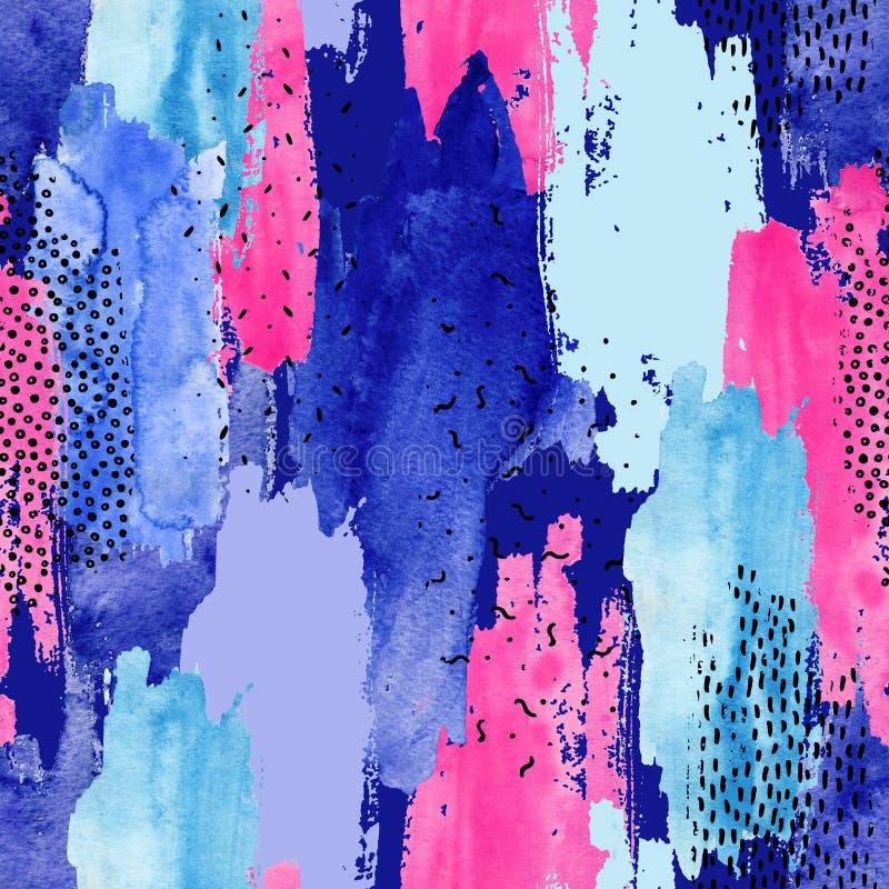 Abstrakcjonistyczny akwareli i atramentu doodle kształtuje bezszwowego wzór ilustracji