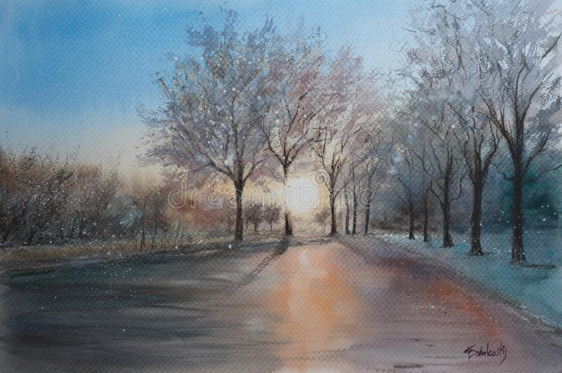 Abstrakcjonistyczny akwareli nakreślenie zima krajobraz obrazy royalty free