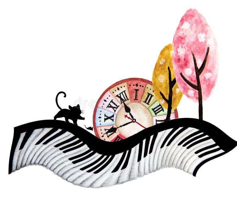 Abstrakcjonistyczny akwareli sztuki ręki obraz czarny kot, mysz, duży zegar i śliczny drzewo na fortepianowej klawiaturze, ilustracji