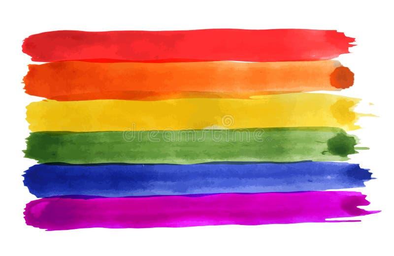 Abstrakcjonistyczny akwareli tęczy tło Homoseksualnej dumy LGBT flaga ilustracja wektor