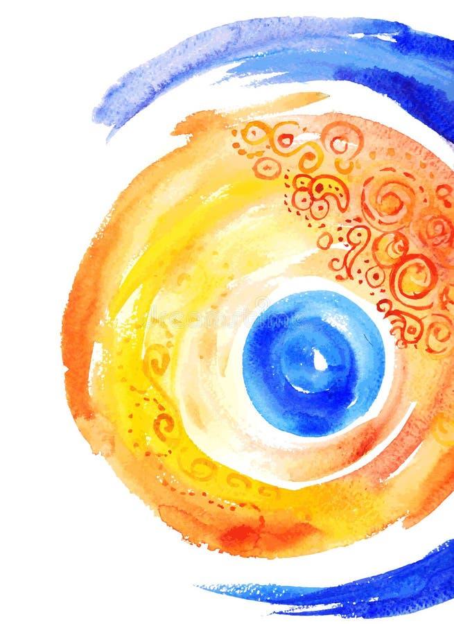 Abstrakcjonistyczny akwareli tła kolor żółty z błękitnym kolorem ilustracja wektor