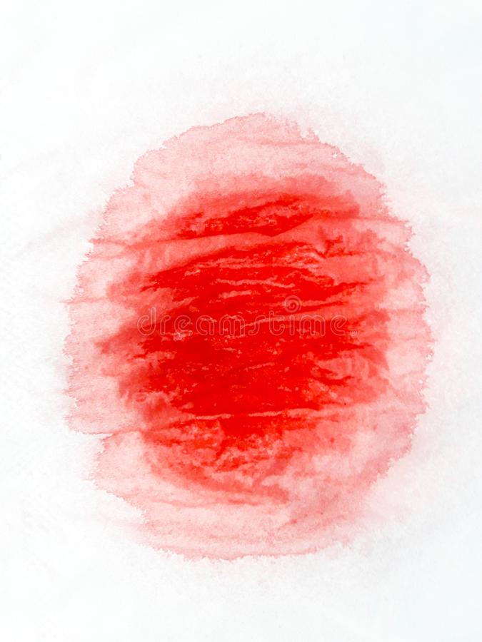 Abstrakcjonistyczny akwareli tła wizerunek z ciekłym splatter aquarelle farba, odosobnionym na bielu czerwieni brzmienia royalty ilustracja