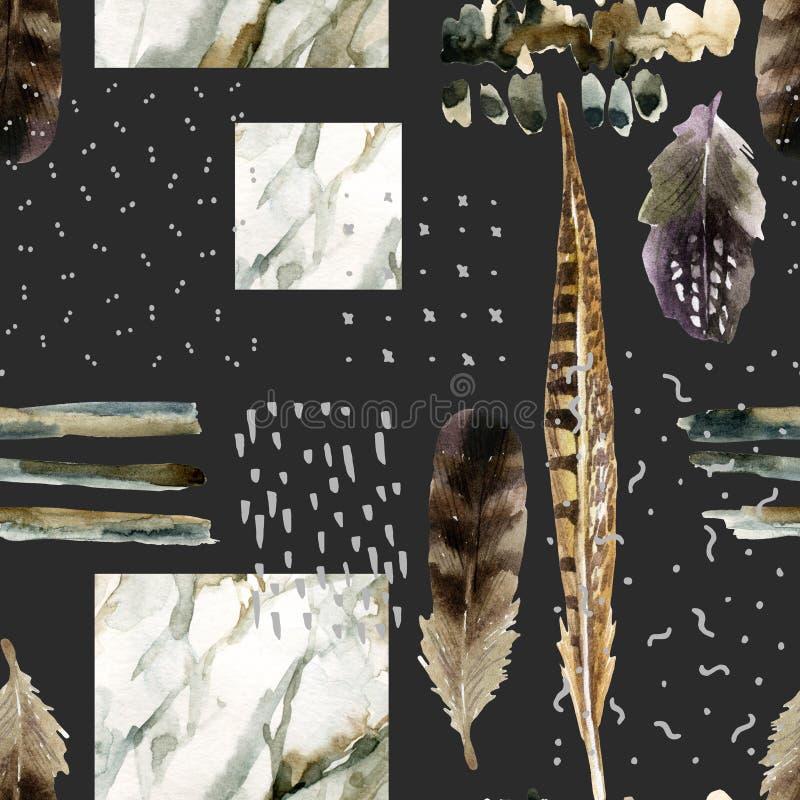 Abstrakcjonistyczny akwareli tło z doodles, marmoryzacja, groszkująca, grunge, papierowe tekstury royalty ilustracja