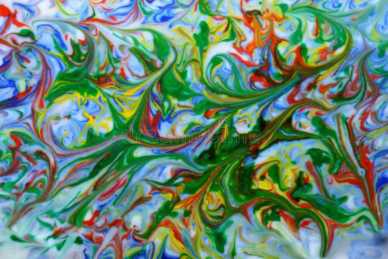Abstrakcjonistyczny akwareli tekstury błękit, czerwień, zieleń, kolor żółty na bielu ilustracja wektor
