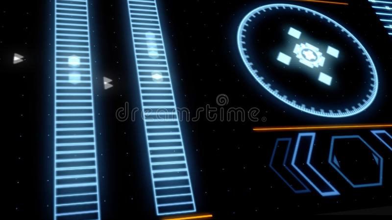 Abstrakcjonistyczny animaion ostrzegawczy powiadomienia po całym ekran z interferencją, cyfrowego systemu alarm bezpieczeństwa ilustracja wektor