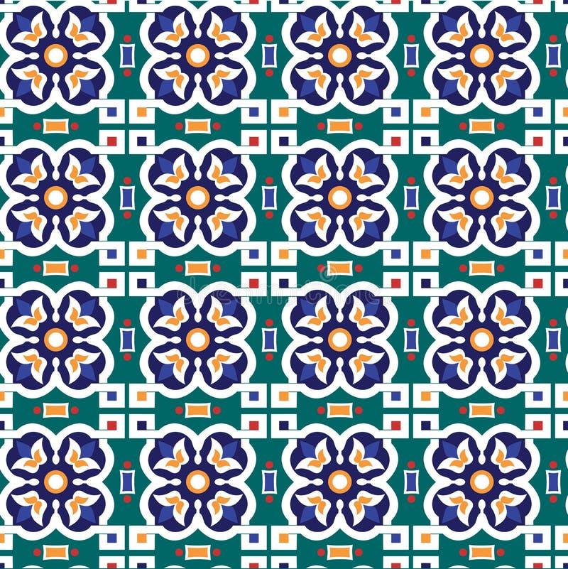 Abstrakcjonistyczny arabski islamski bezszwowy geometryczny ornamentu wzór wektor royalty ilustracja