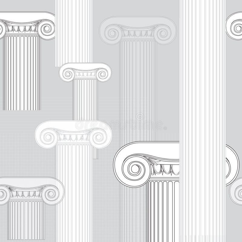 Abstrakcjonistyczny architektoniczny wzór. Jońskich kolumn bezszwowa tekstura royalty ilustracja