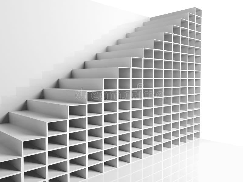 Abstrakcjonistyczny architektury tło, biały 3d royalty ilustracja