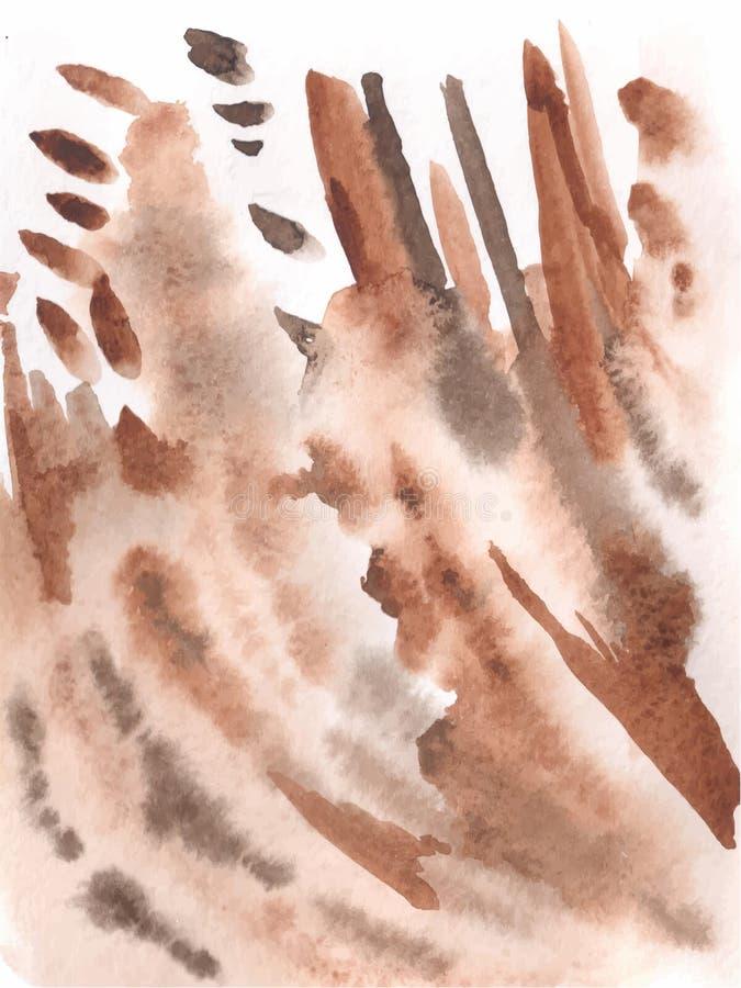 Abstrakcjonistyczny artystyczny brown akwareli tło ilustracja wektor
