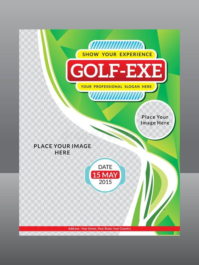Abstrakcjonistyczny artystyczny golfowy ulotka szablon ilustracja wektor