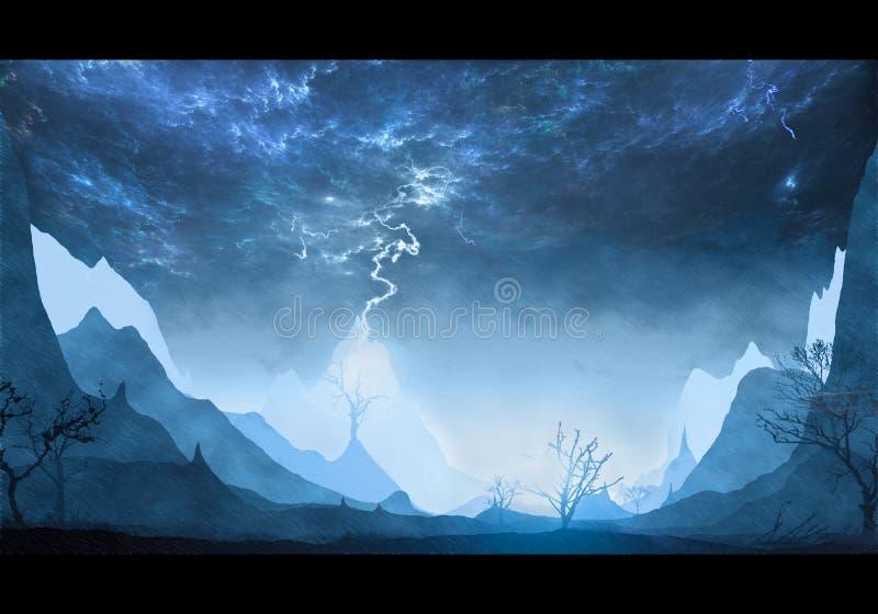 Abstrakcjonistyczny artystyczny unikalny góra krajobraz w energicznym niebie ilustracji