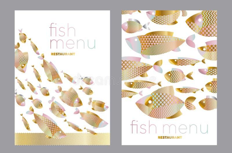 Abstrakcjonistyczny asortowany złoto ryba wzór dla karty ilustracji