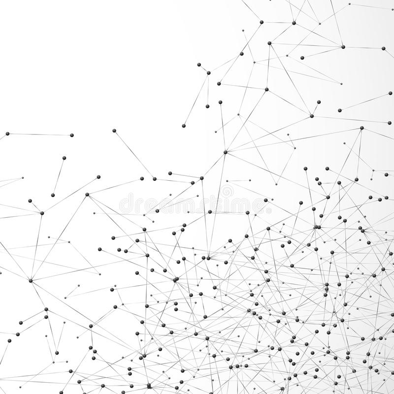 Abstrakcjonistyczny atom lub cząsteczkowa siatka Powikłany cyfrowy siatka szyk guzki Geometryczny kropki i linii tło Globalni sie ilustracja wektor