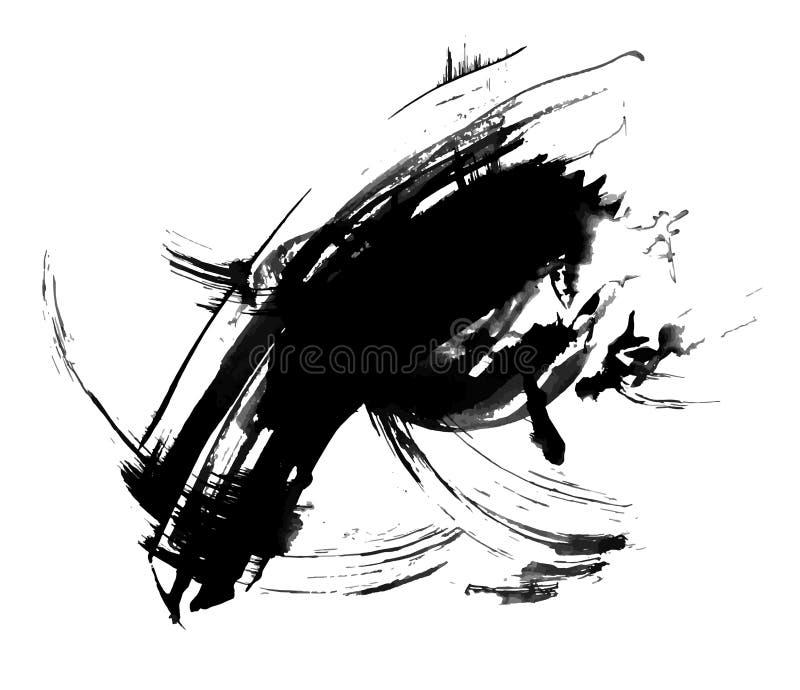 Abstrakcjonistyczny atramentu obraz, artystyczny czarny vetor wzór ilustracja wektor