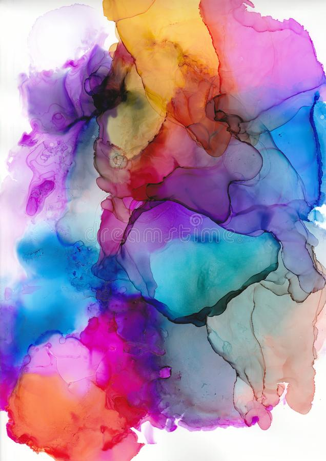 Abstrakcjonistyczny atramentu tło, multicoloured gradientowa sztuka, watercolour washe, alkoholu atrament royalty ilustracja