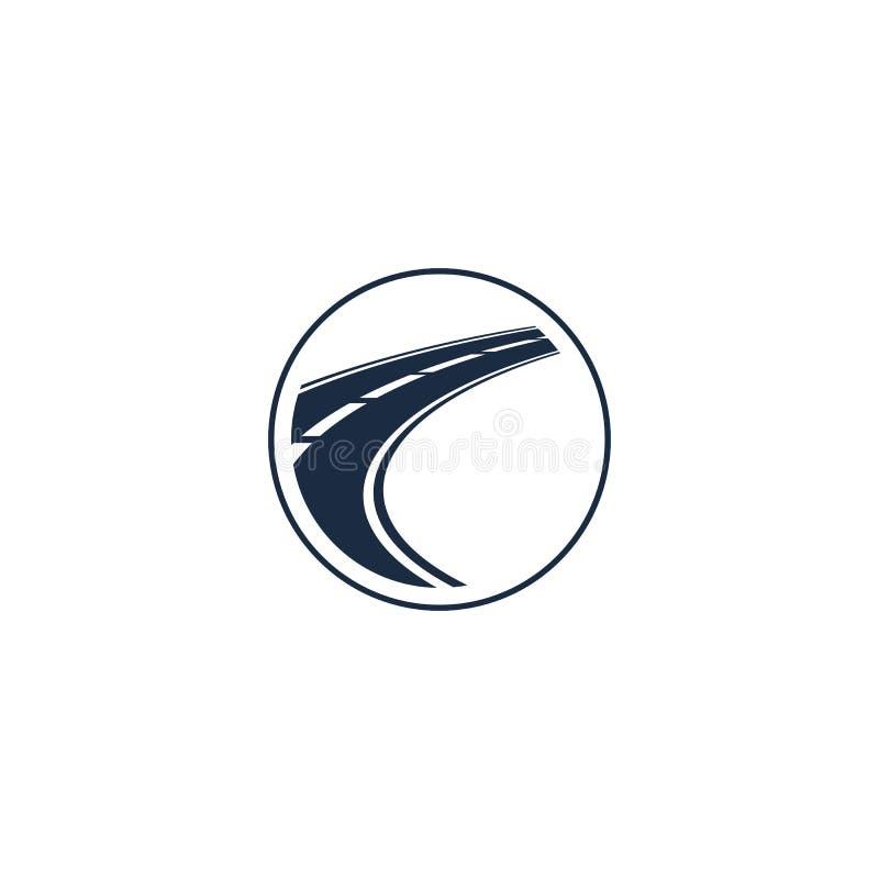 abstrakcjonistyczny autostrada element w okręgu logu, round kształta logotyp z drogą na białej tło wektoru ilustraci ilustracja wektor