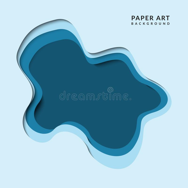 Abstrakcjonistyczny błękitny papercut wektor ilustracji