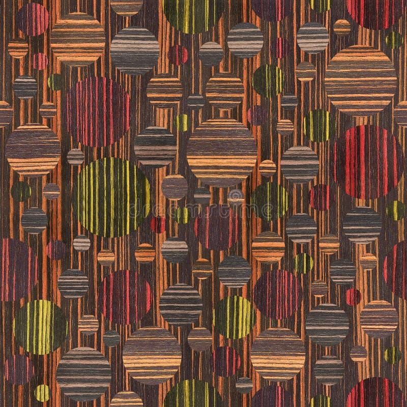Abstrakcjonistyczny bąbla wzór drewniana tekstura - różni kolory - ilustracja wektor
