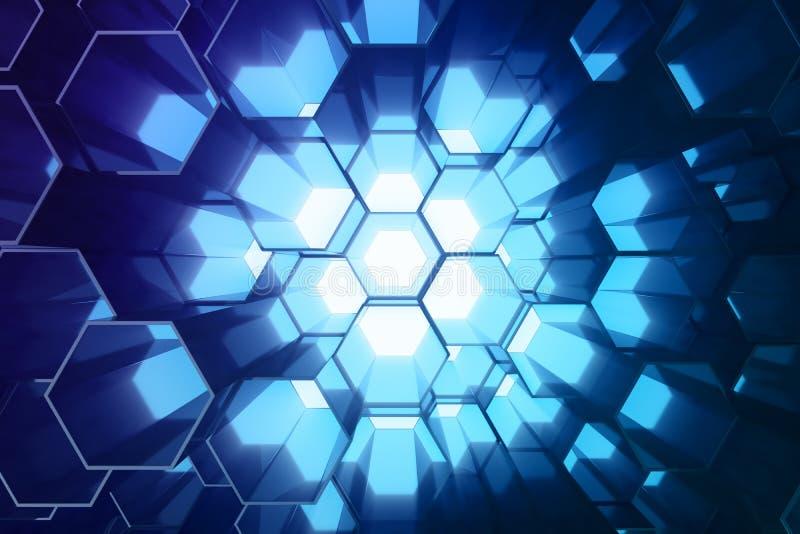 Abstrakcjonistyczny błękit futurystyczny nawierzchniowy sześciokąta wzór, heksagonalny honeycomb z lekkimi promieniami, 3D render ilustracja wektor