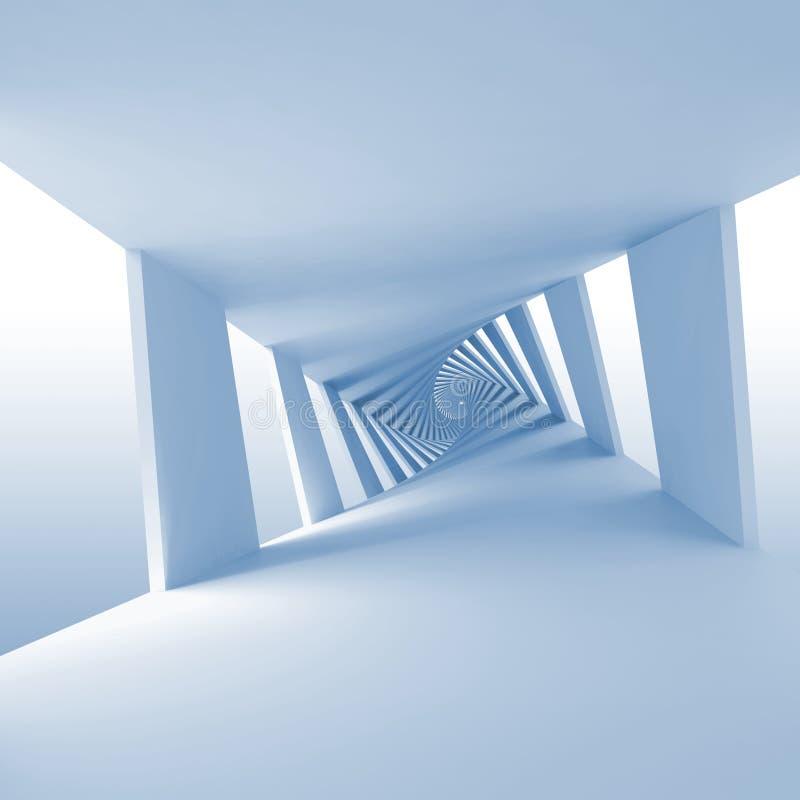 Abstrakcjonistyczny błękita 3d tło z kręconym korytarzem royalty ilustracja