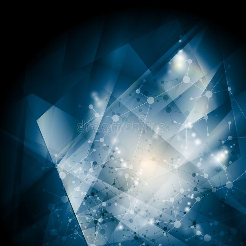Abstrakcjonistyczny błękita DNA cząsteczkowej struktury tło ilustracji