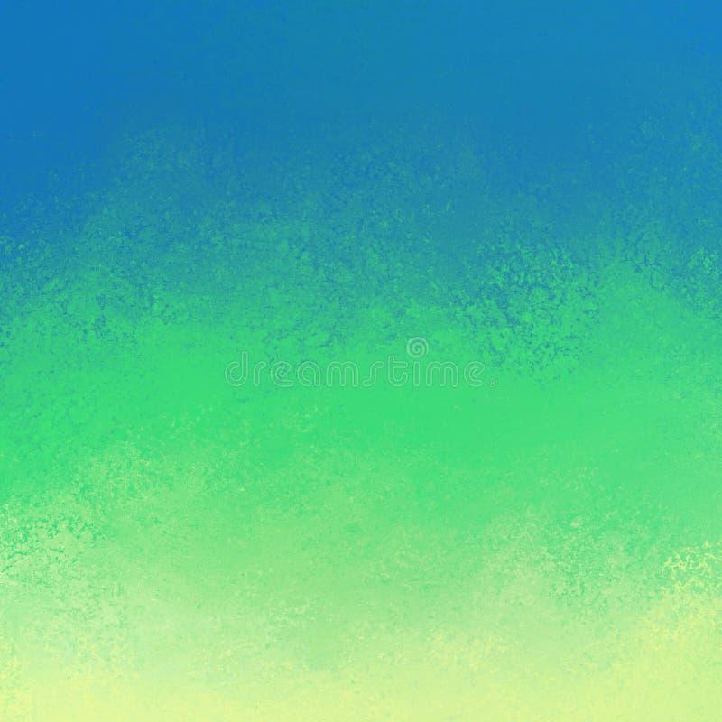 Abstrakcjonistyczny błękitnej zieleni i koloru żółtego tło z grunge farby teksturą w wielkich lampasach royalty ilustracja