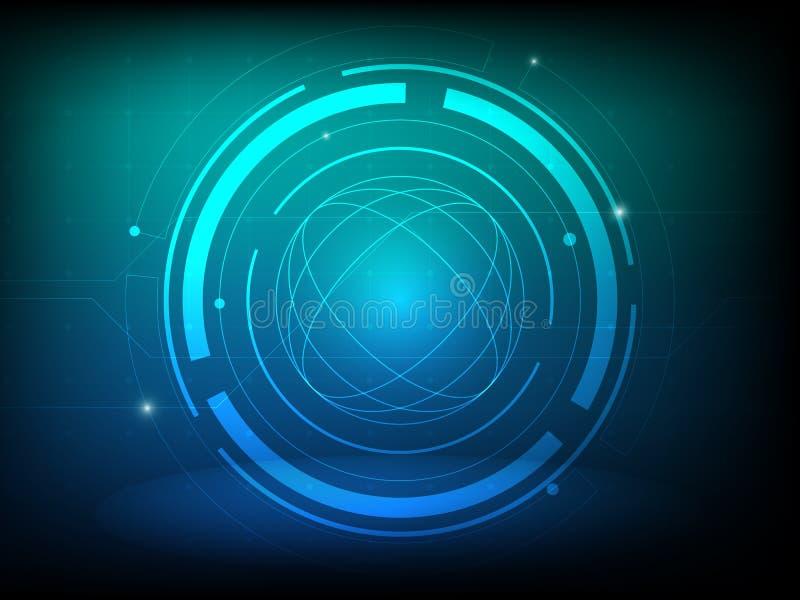 Abstrakcjonistyczny błękitnej zieleni okręgu technologii cyfrowej tło, futurystyczny struktura elementów pojęcia tło royalty ilustracja