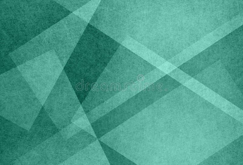 Abstrakcjonistyczny błękitnej zieleni tło z trójbokiem i przekątny linii projekta elementami kształtuje royalty ilustracja