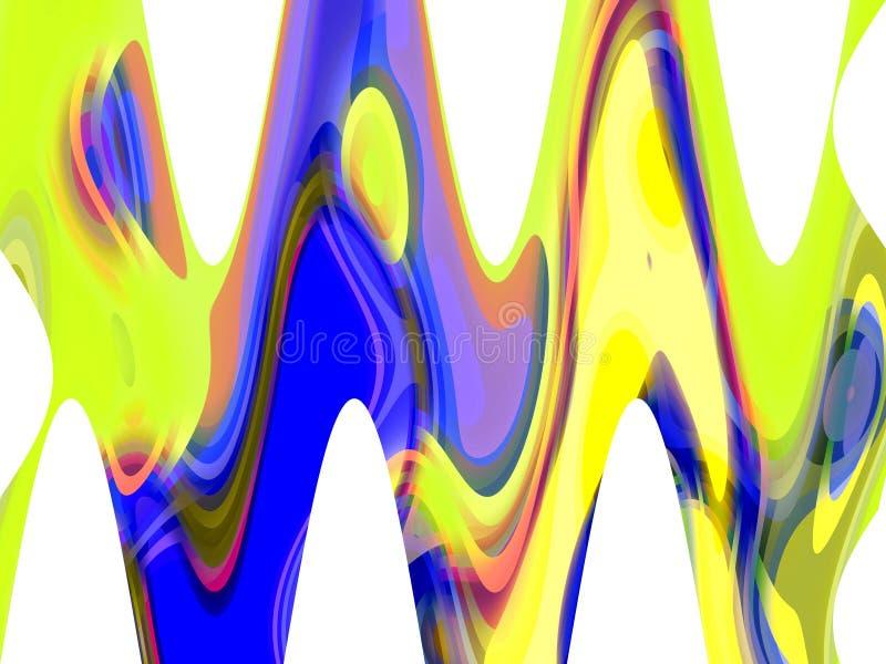Abstrakcjonistyczny błękitny żółty rzadkopłynnych linii tło, grafika, abstrakcjonistyczny tło i tekstura, royalty ilustracja
