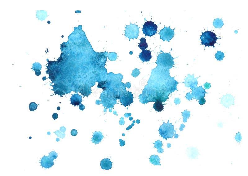 Abstrakcjonistyczny błękitny akwareli tło, opadowa akwarela ilustracja wektor
