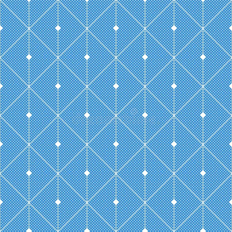 Abstrakcjonistyczny błękitny bezszwowy wzór od prostokątów Wektorowy geometryczny projekt, sztuki współczesnej grafika Dachówkowa ilustracji